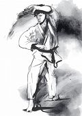 stock photo of karate  - An hand drawn converted vector in calligraphic style from series Martial Arts - JPG
