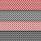 image of red clover  - Vector set of red and black seamless patterns with suits of playing cards - JPG