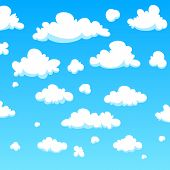 stock photo of puffy  - The white pattern cartoon clouds - JPG