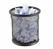 picture of draft  - an metal trash can with white drafts isolated on a white background - JPG