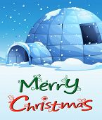 stock photo of igloo  - Illustration of a christmas template with an igloo - JPG