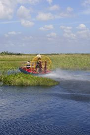 picture of airboat  - Everglades airboat in South Florida National Park - JPG