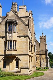stock photo of magdalene  - Magdalen College along High Street showing detail of the architecture Oxford Oxfordshire England UK Western Europe - JPG