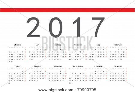 Polish 2017 Year Vector Calendar
