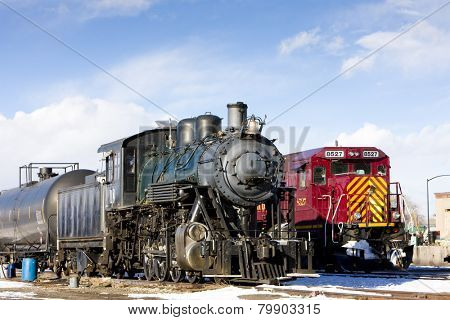 locomotives at railway station of Alamosa, Colorado, USA