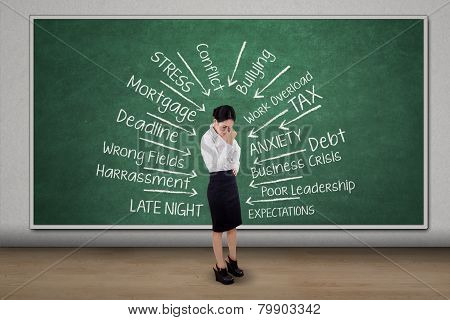 Female Entrepreneur Getting Headache Think Her Problems