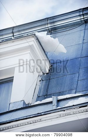 Ice Hanging On Building