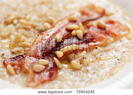 Risotto with bacon and pine nuts, tasty but fatty