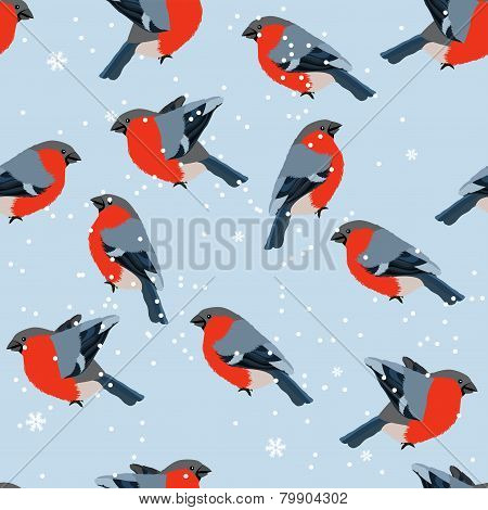 Stylized seamless pattern with bullfinches