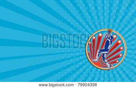 Business Card Basketball Player Jump Shot Ball Circle Woodcut Retro