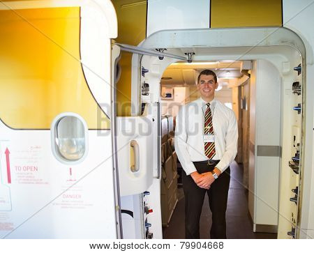MOSCOW - DEC 10: Emirates crew member meet passengers on Airbus A380 aircraft on December 10, 2014 in Moscow. Emirates handles major part of passenger traffic and aircraft movements at the airport.