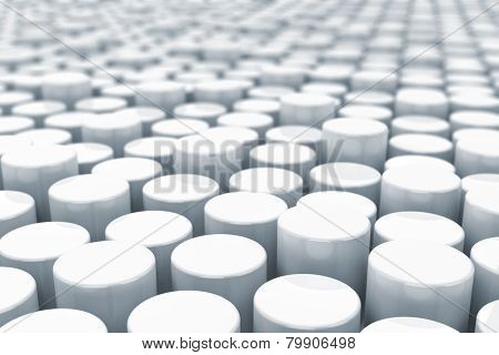 Abstract white cylinders background with depth of view