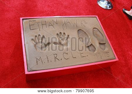 LOS ANGELES - JAN 8:  Ethan Hawke hand and foot prints at the Ethan Hawke Hand and Foot Print Ceremony at a TCL Chinese Theater on January 8, 2014 in Los Angeles, CA
