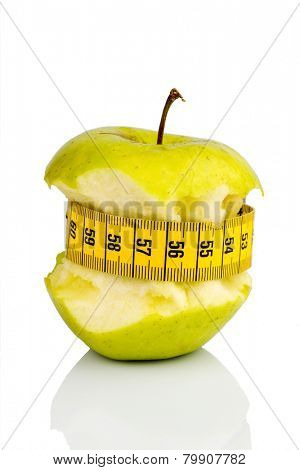 apple with a measuring tape. photo icon for diet and healthy, vitamin-rich diet.