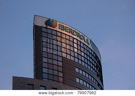 VALENCIA, SPAIN - JANUARY 11, 2015: The top of the Iberdrola buidling in Valencia. Iberdrola is a Spanish public multinational electric utility with 31,330 employees serving 31,67 million customers.