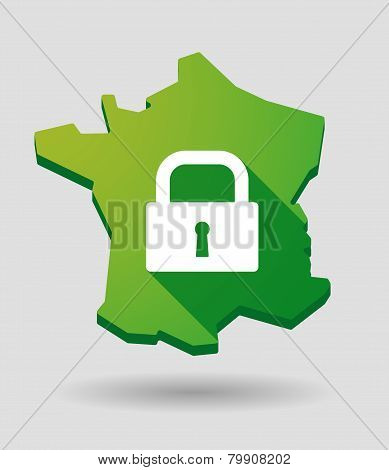 France Map Icon With A Lock Pad