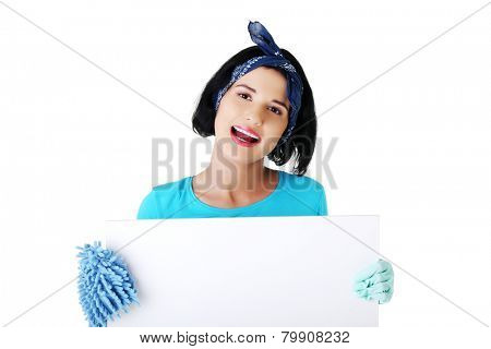 Portrait of happy woman with mop and empty banner.