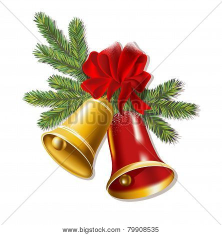 Jingle bells with red bow on a white background.
