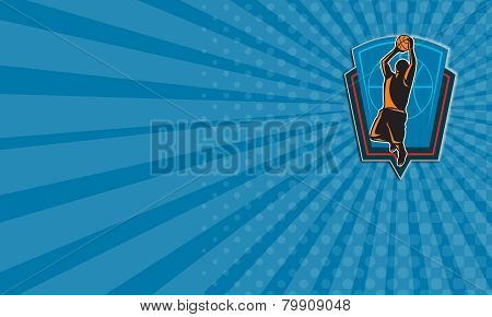 Business Card Basketball Player Rebounding Ball Shield Retro
