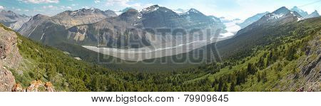 Canadian Panoramic Landscape With Glacier. Icefields Parkway. Alberta. Canada