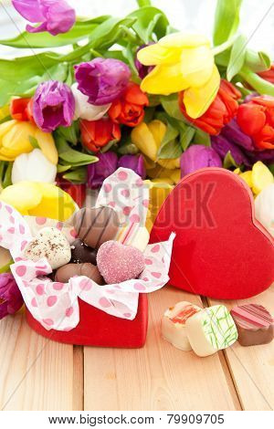 Variety Of Chocolates In Heartshaped Box