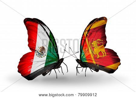 Two Butterflies With Flags On Wings As Symbol Of Relations Mexico And Sri Lanka