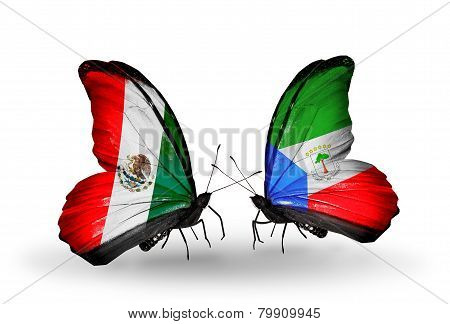 Two Butterflies With Flags On Wings As Symbol Of Relations Mexico And Equatorial Guinea