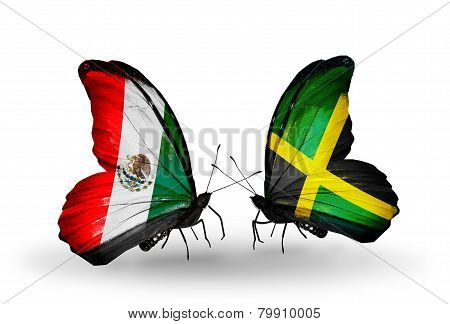 Two Butterflies With Flags On Wings As Symbol Of Relations Mexico And Jamaica