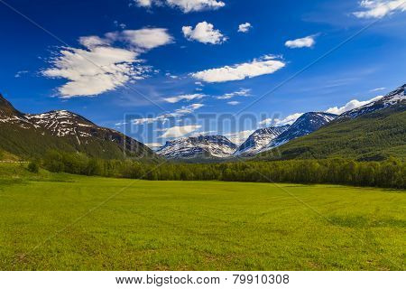 Beautiful Green Valley At The Foot Of The High Mountains
