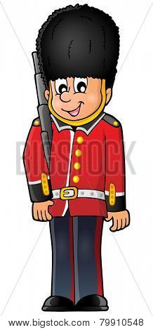 Happy Beefeater guard - eps10 vector illustration.