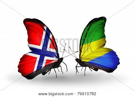Two Butterflies With Flags On Wings As Symbol Of Relations Norway And Gabon