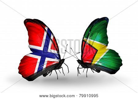 Two Butterflies With Flags On Wings As Symbol Of Relations Norway And Guyana