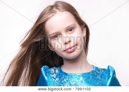 Little Beautiful Blonde Girl / Child With Long Hair