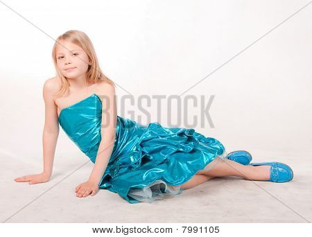 Beautiful Little Girl In Blue Dress, Studio