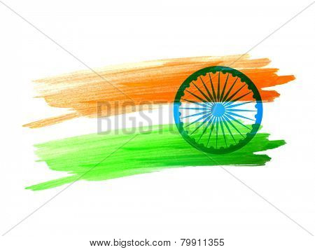 Indian flag made with color strokes vector design