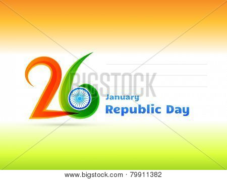 vector Indian republic day design celebrated on 26 January illustration in tricolor background