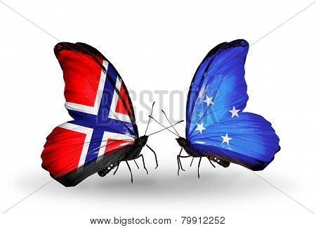 Two Butterflies With Flags On Wings As Symbol Of Relations Norway And Micronesia