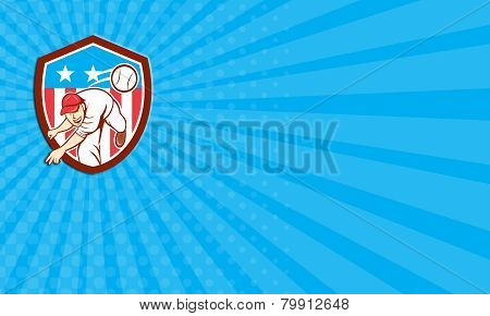 Business Card Baseball Pitcher Outfielder Throwing Ball Shield Cartoon