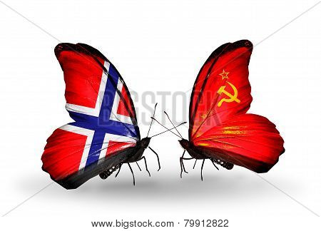 Two Butterflies With Flags On Wings As Symbol Of Relations Norway And Soviet Union