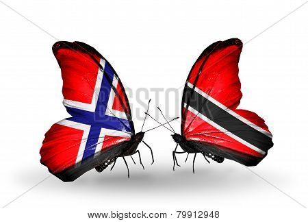 Two Butterflies With Flags On Wings As Symbol Of Relations Norway And Trinidad And Tobago