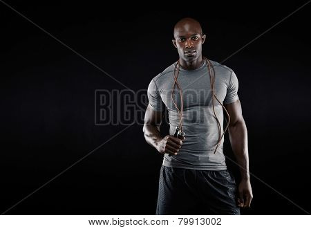 Muscular Man With Jumping Rope