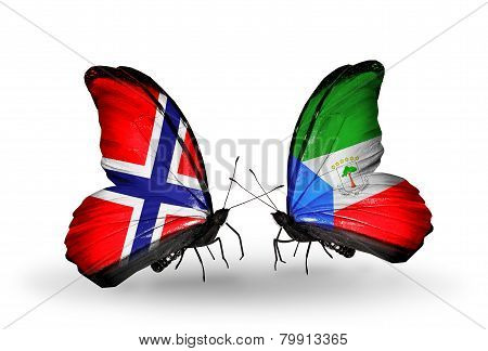Two Butterflies With Flags On Wings As Symbol Of Relations Norway And Equatorial Guinea