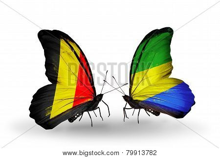 Two Butterflies With Flags On Wings As Symbol Of Relations Belgium And Gabon