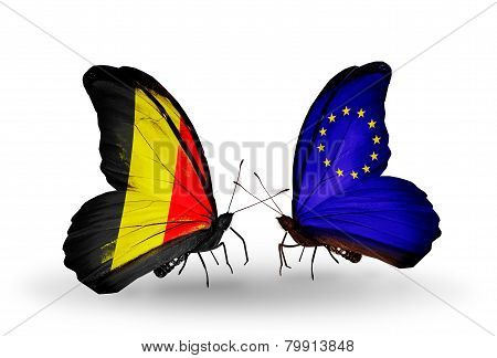 Two Butterflies With Flags On Wings As Symbol Of Relations Belgium And  Eu