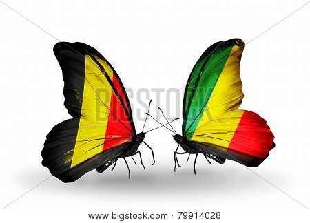 Two Butterflies With Flags On Wings As Symbol Of Relations Belgium And   Kongo