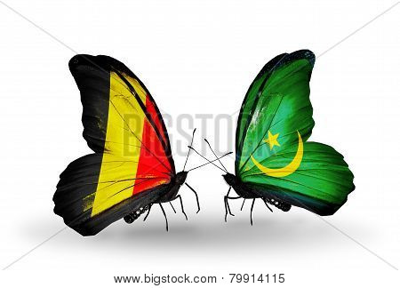 Two Butterflies With Flags On Wings As Symbol Of Relations Belgium And Mauritania