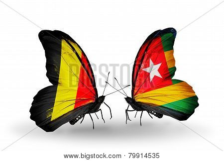 Two Butterflies With Flags On Wings As Symbol Of Relations Belgium And Togo