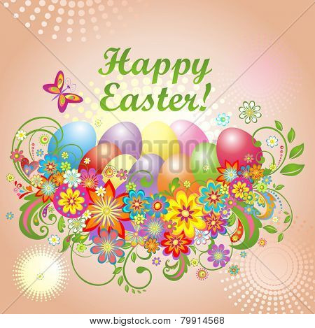 Easter card with colorful flowers and eggs