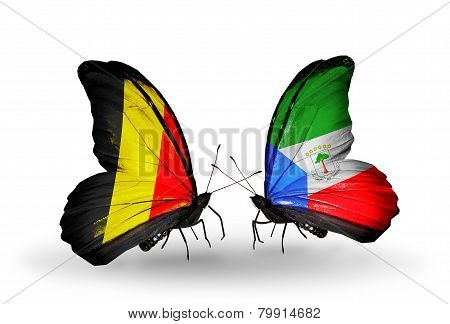 Two Butterflies With Flags On Wings As Symbol Of Relations Belgium And Equatorial Guinea