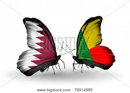 Two Butterflies With Flags On Wings As Symbol Of Relations Qatar And  Benin